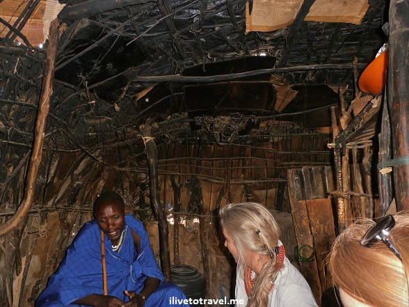 Interior of a Masai village hut
