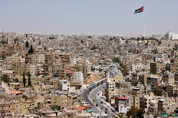 Amman city view flagpole flag Jordan hills photo Canon EOS Rebel