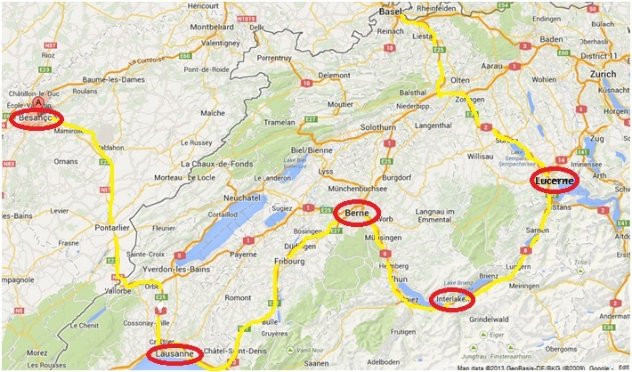Switzerland, map, route, driving, Bern, Lausanne, Interlaken, travel, tourism