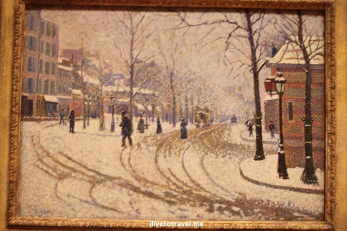 painting, impressionist, Signac, art, museum, Minneapolis, snowy scene, Canon EOS Rebel