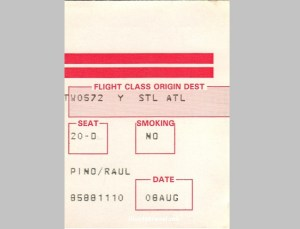TWA, airline, Trans-World, boarding pass, flying history