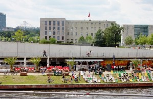 Berlin, Germany, river, beach chairs