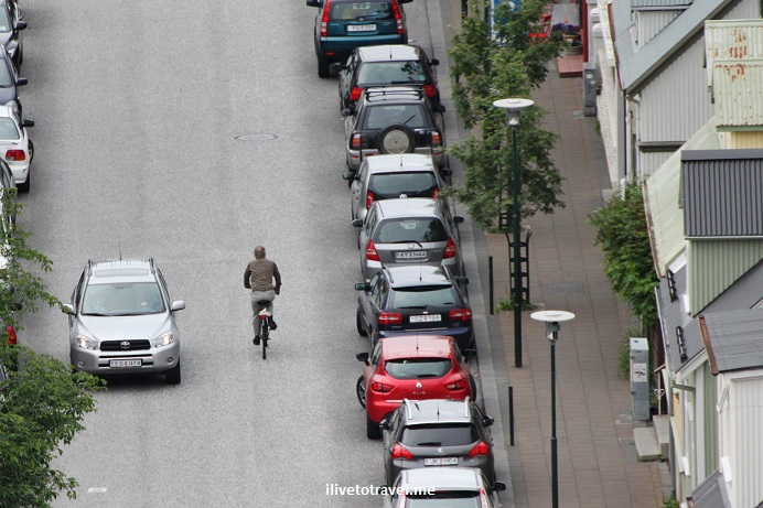 Reykjavik, Iceland, architecture, travel, street, lone biker, Canon EOS Rebel