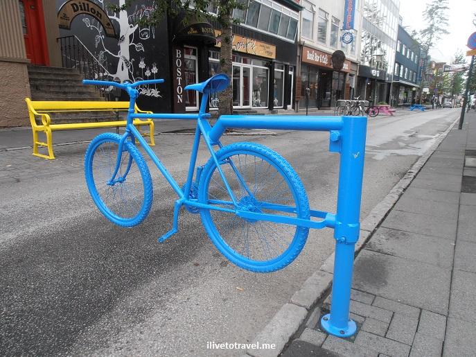 Reykjavik, Iceland, street scene, travel, pedestrian street, street art, bicycle, blue,Laugavegur, Olympus