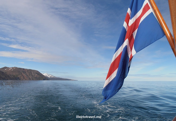 Iceland, sea, whale watching, Husavik, flag, Olympus, blue sky