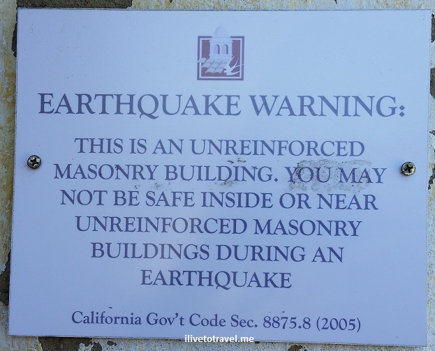California, Carmel Mission, earthquake, sign, warning, travel, photo