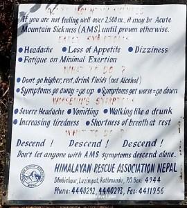Acute mountain sickness, Nepal, Sagarmatha, warning sign