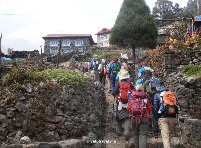 Nepal, Himalayas, house, hamlet, blue, travel, Olympus, trekkers