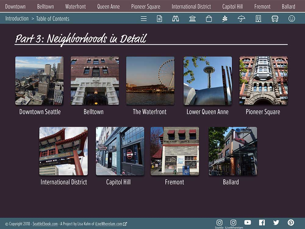 Seattle Visual Travel Guide eBook - Table of Contents