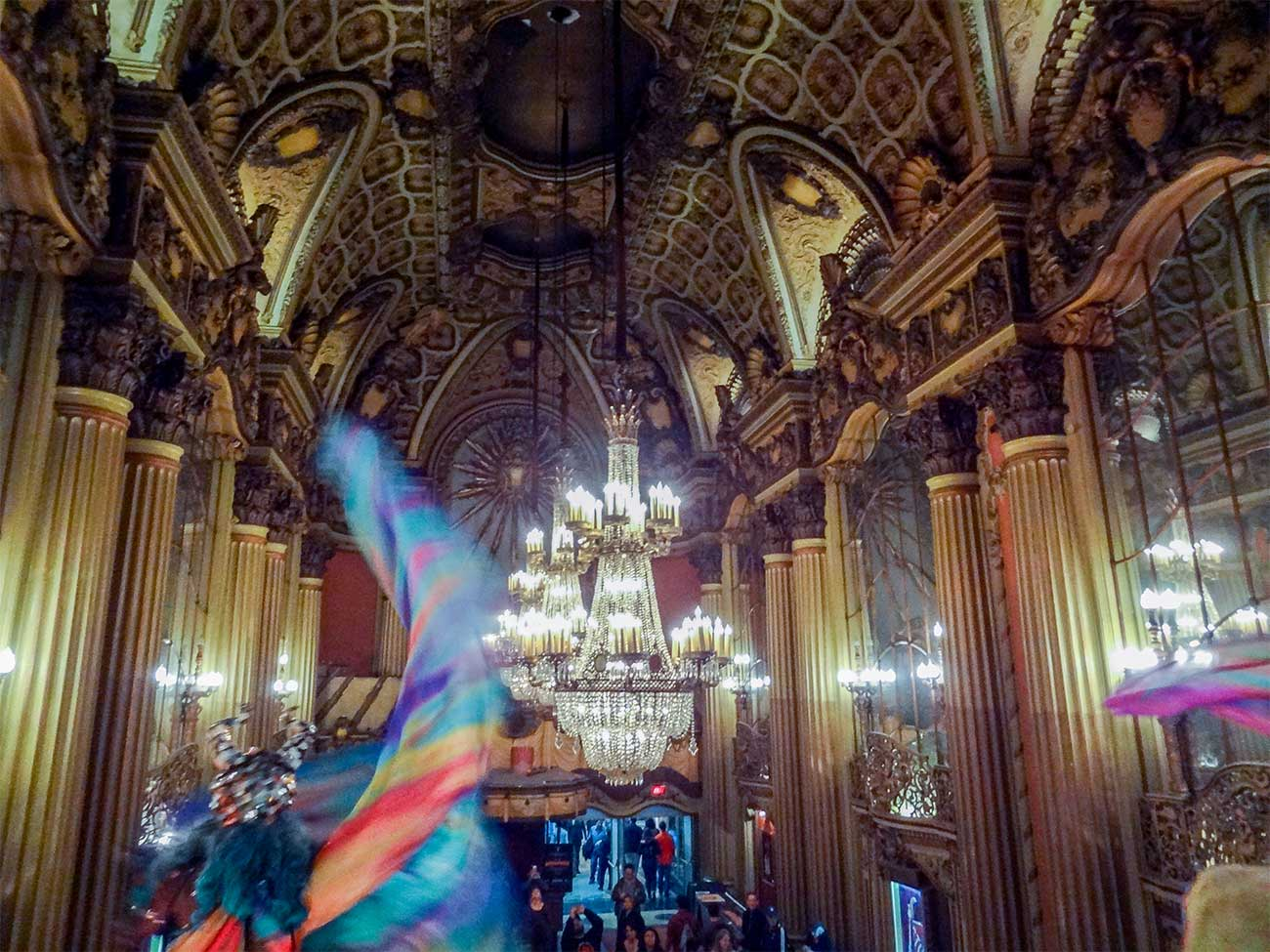 Lobby of the Los Angeles Theatre with crystal chandeliers