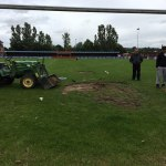 Getting the NMG pitch ready for the big kick-off.  It has been neglected for a w…