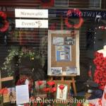 Remembrance window display at Memorable Events, 5 Bath Street, Ilkeston.