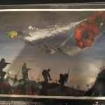 Schoolboy's painting of soldiers at war. Jamie Sansome was a student of Kirk Hal…