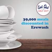 "Image may contain: indoor, text that says ""Eat Out HELP OUT 39, 39,000 meals discounted in Erewash"""