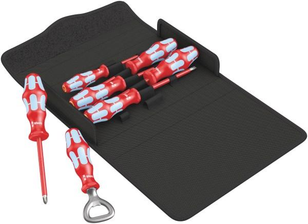 Das Wera Kraftform 3100 i/7 Set 1 Schraubendrehersatz ist ein 6-teiliges VDE-Schraubendreher-Set. Es ist ein hochwertiges Kraftform Plus VDE