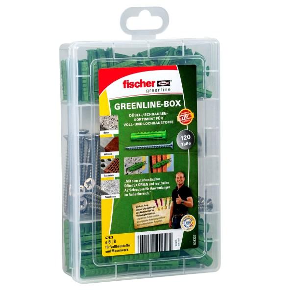 Die fischer Greenline-Box bestehend aus Dübel SX Green in den Größen 6 und 8 sowie passenden Edelstahlschrauben A2 ermöglichen Befestigungen