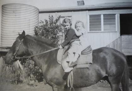 Jan and Trevor on Johnny at Eulowarra Farm, Marshall Mount. Circa 1949