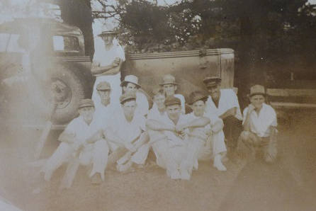 Marshall Mt Cricket Team circa 1938. Standing is George Smith, left with pads on is Hugh Stevenson and other batsman with pads is Bill Parnell. In the black cap is Bill McCormack.