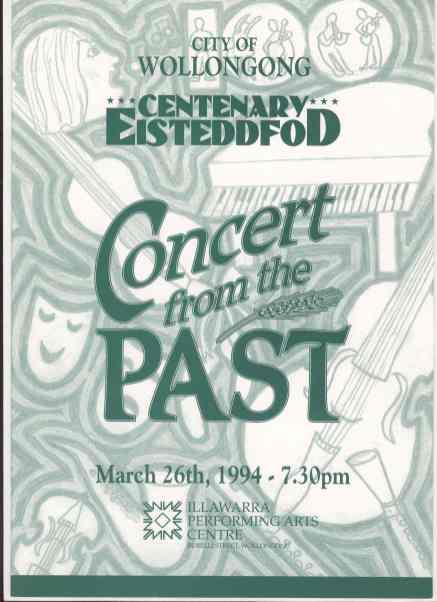 Centenary Eisteddfod Concert Programme, March 1994