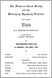 "14th April 1969, front ""Elijah"" program cover : Illawarra Choral Society, Wollongong Symphony Orchestra"