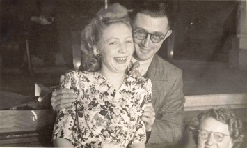 Marcia (Day) with Wolf Brighton, manager of W.H. Paling & Co., where she worked at the time. Image taken 21st, 1947 in WTH