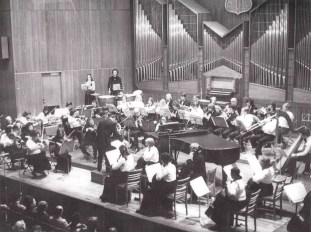 Wollongong Symphony Orchestra at Wollongong Town Hall, Back with details; Date: 1974