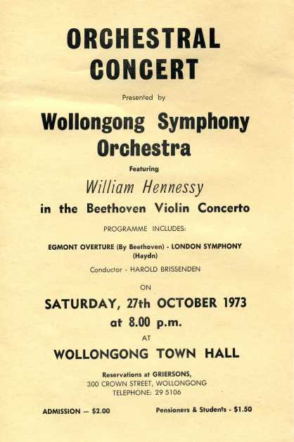 """Wollongong Symphony Orchestra """"Orchestral Concert"""" flyer, 27th Oct 1973 Names: Ellis Fitzsummons Leader, Jim Powell, Stephen Zantiotes, Trudy Zalowski, Merion Powell at piano, Ada Rayner, Elaine Hohenhouse, Lyle Dobbins, Mona Scott, Lester Tate, Fred Rose"""