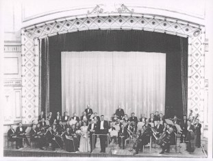 WSO at Civic Theatre - WSO possibly first performance, at Civic Theatre, Stephen Zantiotes (head of second Violins), Ada Rayner sitting just behind him, Rachael Neal, Lionel Lawson (world famous violinist), Moore McMahon (Conductor) Date: 25th July 1947
