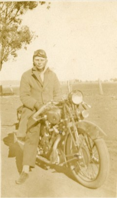 James Street with Panther motorcycle - Merungle Hill, Yanco - 1930s.