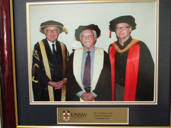 Vic was awarded an Honorary Fellowship by the University of New South Wales