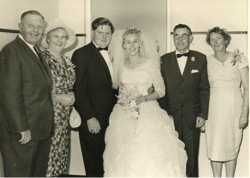 Left to right: James Street, Gladys Street, John, Barbara, Harry Thomson, Johanna Thomson - 29 September 1962
