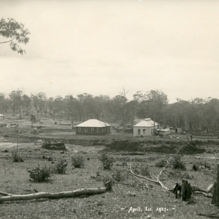1927 - Excavations for furnace foundations (right) and stoves and raw material bins at centre. Gantry incline construction (left) with Five Islands Road at rear - P06901