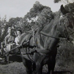 1939 - Mary & Rona with horse Prince at Blue Gum