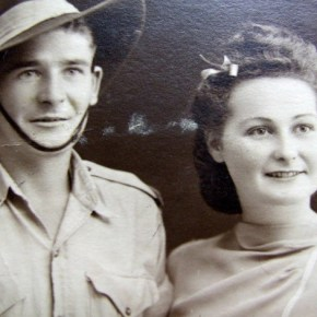 1942, 3 July - Wally Powell & Rona Foulds on their wedding Day