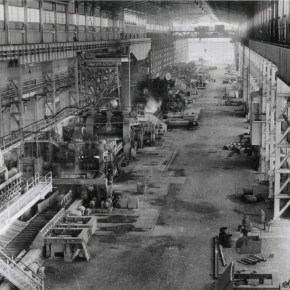 1955 - Hoskins Kembla Works, Tin Plate Mill. Workshop interior at the official opening of the mill - P19097