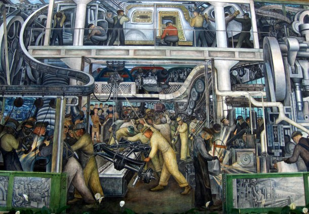 One of the Detroit Industry murals by Diego Rivera at the Detroit Institute of Arts