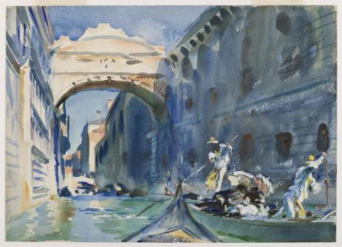 John Singer Sargent, The Bridge of Sighs, c. 1903–04, translucent and opaque watercolor with graphite and red-pigmented underdrawing, Brooklyn Museum, purchased by Special Subscription.