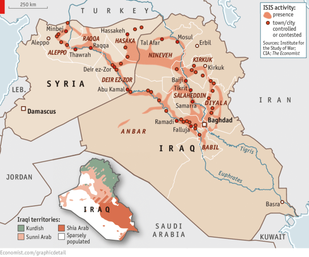 This Chart from the Economist, from June, 2014 shows the growing influence of ISIS