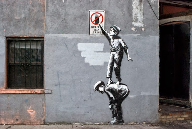 """The Street is in Play"", Banksy, Chinatown, Oct. 2013."