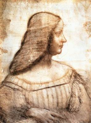 A chalk study by Leonardo da Vinci, in the collection of the Louvre