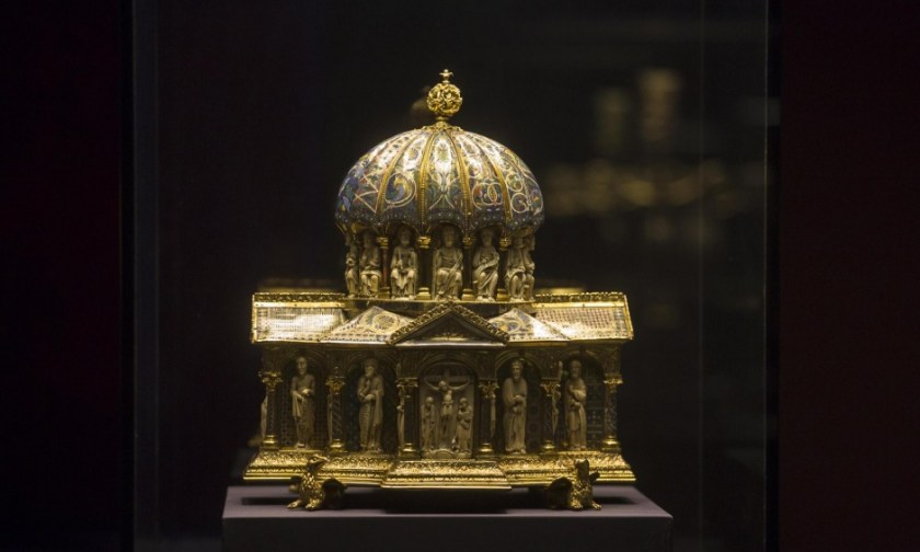 The 13th-century Dome Reliquary, part of the Welfenschatz or Guelph Treasure, is displayed at the Bode Museum in Berlin