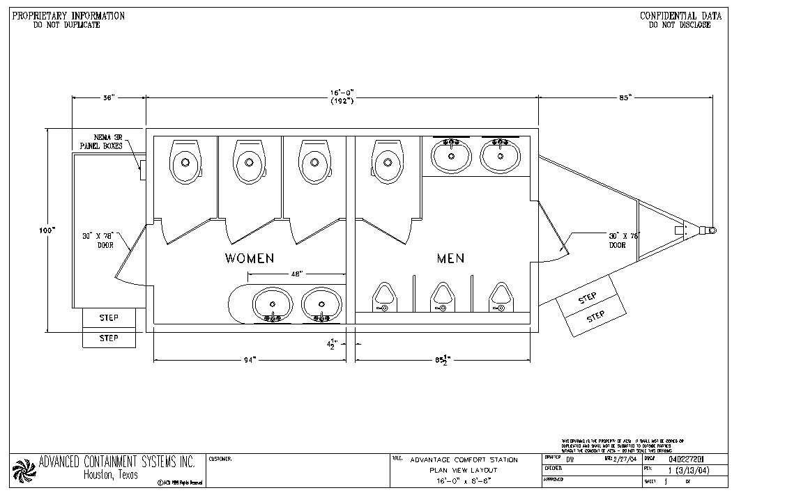 16-Foot Comfort Station Layout