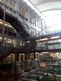 The Booth Library is named after former librarian Mary J. Booth, who worked at Eastern Illinois University for over 40 years. Captured from the lower level, this picture shows the many floors and staircases of which were intricately constructed.