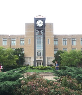 A cloudy day outside of Mary J. Booth Library. At the back entrance is the alumni tower, decorated by plant life around it.