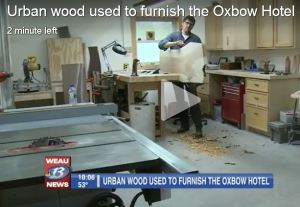 Oxbow Hotel, urban wood, Eau Claire Woodworks