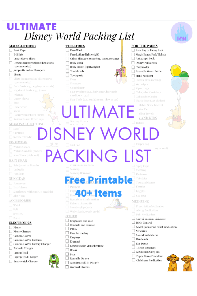 IMYM Ultimate Disney Packing List