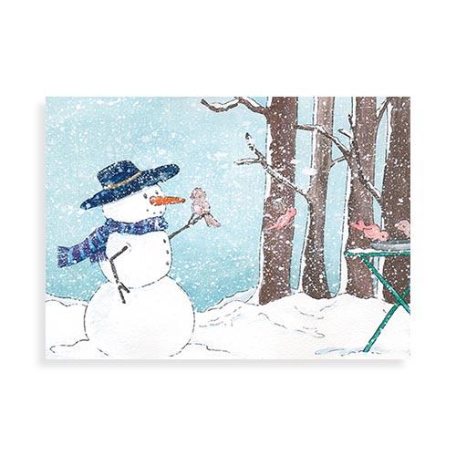 """Voorkant ansichtkaart """"Vogeltjes in januari"""""""