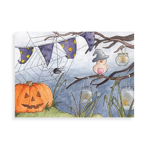 "Voorkant ansichtkaart ""Vogeltjes in oktober"""