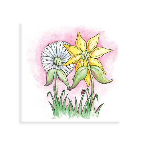 """Voorkant wenskaart """"Zomaar lieve bloemetjes"""""""