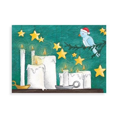 "Voorkant ansichtkaart ""Vogeltjes in december"""
